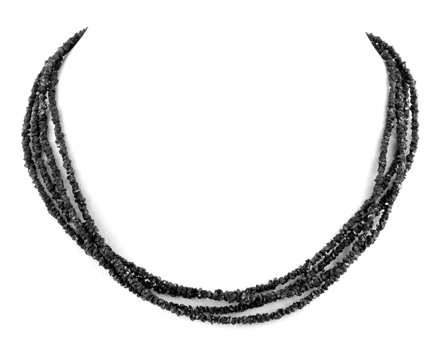 Gorgeous Four Row Rough Black Diamond Necklace