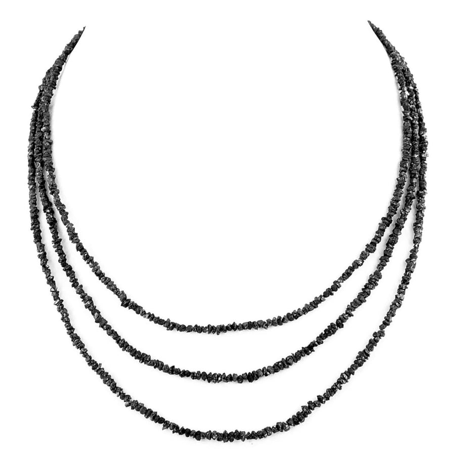 3-4 mm, Three Row Rough Black Diamond Necklace - ZeeDiamonds