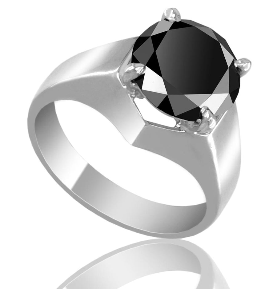 1-3 Ct AAA Quality Certified Black Diamond Solitaire Unisex Rings - ZeeDiamonds