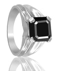 3 Ct Asscher Cut Black Diamond Solitaire Engagement Ring, Elegant Shine - ZeeDiamonds