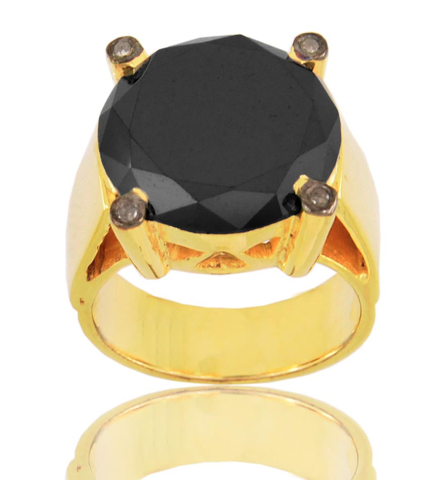 3-5 Ct, Black Diamond Solitaire Ring With Micron Gold Plating - ZeeDiamonds