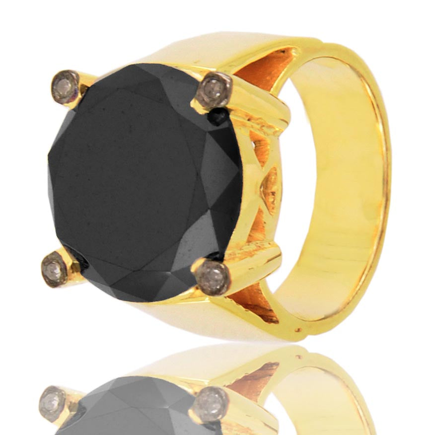 4 Ct Black Diamond Solitaire Ring With Diamond Accents on Prong, Excellent Quality - ZeeDiamonds