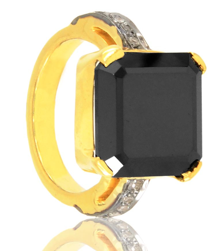 2-5 Ct Princess Cut Black Diamond Ring With Rose Cut Diamond Accents - ZeeDiamonds