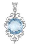20cts Blue Topaz Pendant in Sterling Silver With White Diamond Accents - ZeeDiamonds