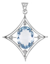 10-12cts Hydro Blue Topaz Pendant in Sterling Silver With White Diamond Accents - ZeeDiamonds