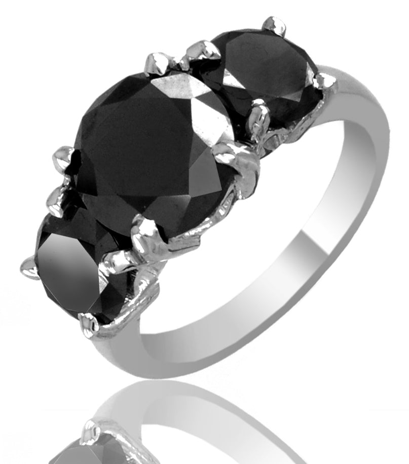 3 Ct Black Diamond Solitaire Band Ring, Promise Ring - ZeeDiamonds