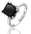 2.50 Ct Princess Cut AAA Certified Black Diamond Solitaire Ring, Great Shine & Luster - ZeeDiamonds
