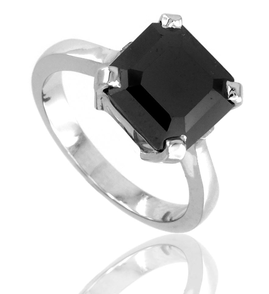 Asscher Cut AAA Quality Certified Black Diamond Solitaire Ring