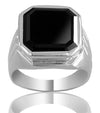 5 Ct Certified Asscher Cut Black Diamond Solitaire Men's Ring, Stunning Look - ZeeDiamonds