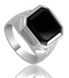 6 Ct Radiant Cut Black Diamond Men's Ring in 925 Sterling Silver - ZeeDiamonds