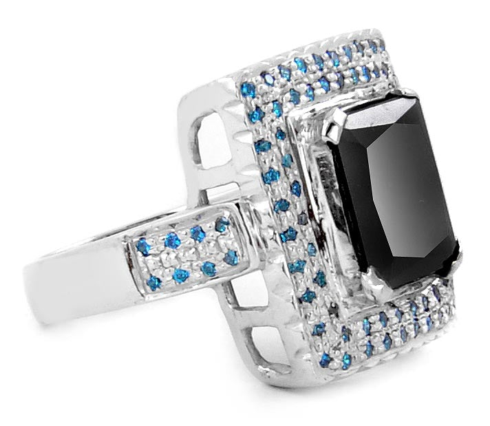 2 ct Gorgeous Black Diamond Cocktail Ring With Accents, Great Shine & Luster - ZeeDiamonds