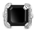 2-5 Ct Princess Cut Black Diamond Ring With White Diamond Accents - ZeeDiamonds