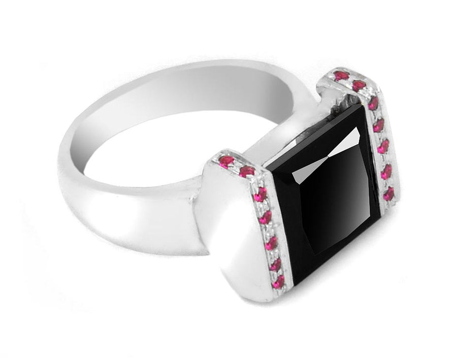 Black Diamond Ring With choice of Ruby,Emerald,Sapphire Accents
