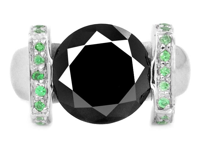 Round Cut Black Diamond Ring With Colombian Emeralds