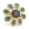 1.50 Ct Gorgeous Black Diamond Statement Ring With Emeralds, Diamond Accents - ZeeDiamonds