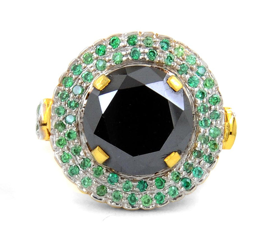 2 Ct Certified Designer Black Diamond Cocktail Ring With Gemstone Accents - ZeeDiamonds