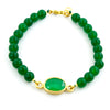 Natural Green Emerald (Panna) Bead Bracelet in Panchdhatu - ZeeDiamonds