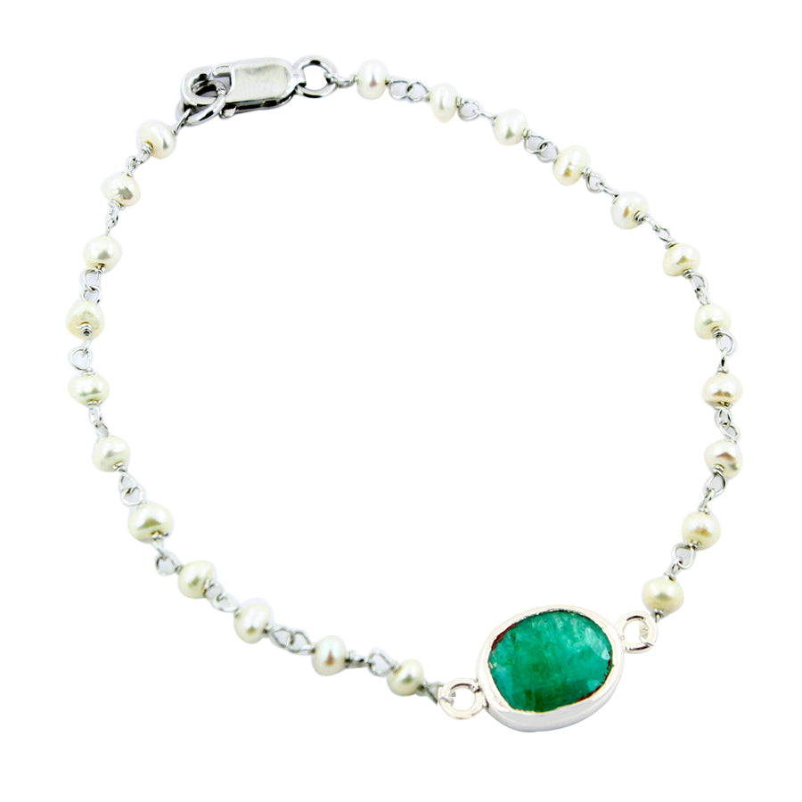 Emerald With Pearl Sterling Silver Certified Beaded Bracelet