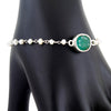 11 Ct Emerald With Pearl (Moti) 100% Certified Beaded, Sterling Silver Bracelet - ZeeDiamonds