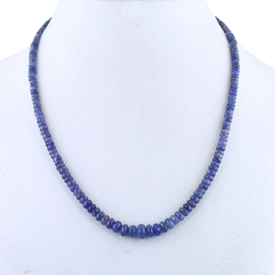 Handmade 4 mm-5 mm Tanzanite Gemstone Necklace - ZeeDiamonds