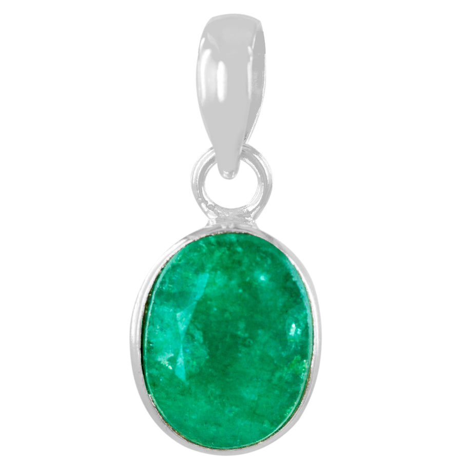 Natural 5.25 Ratti Emerald Oval Shape Gemstone Silver Pendant with Certifcate - ZeeDiamonds