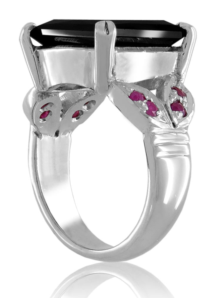 Princess Cut Black Diamond Ring With Madagascar Rubies