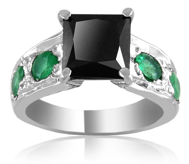 2 ct Princess Cut Black Diamond Ring with Gemstone Accents, Great Luster - ZeeDiamonds