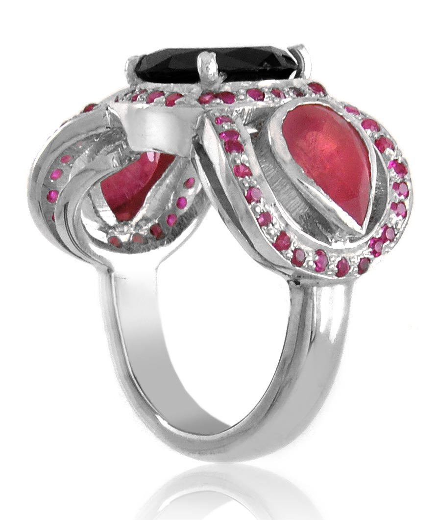 1.50 Ct Black Diamond Cocktail Ring With Ruby Accents, Gorgeous Design - ZeeDiamonds