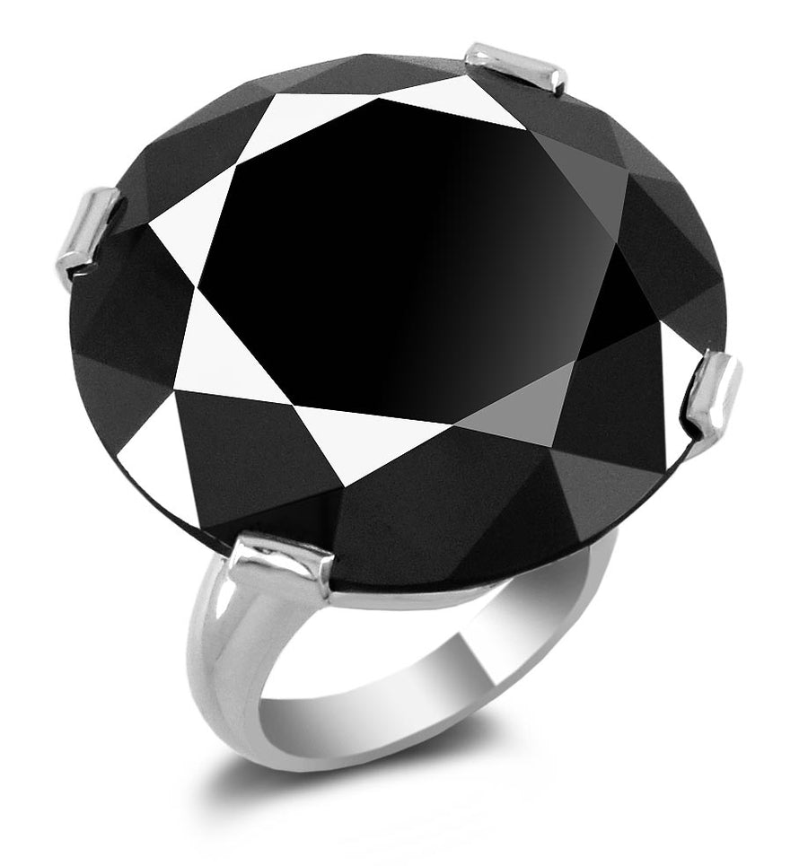 3-5 Ct AAA Quality Certified Black Diamond Solitaire Ring - ZeeDiamonds