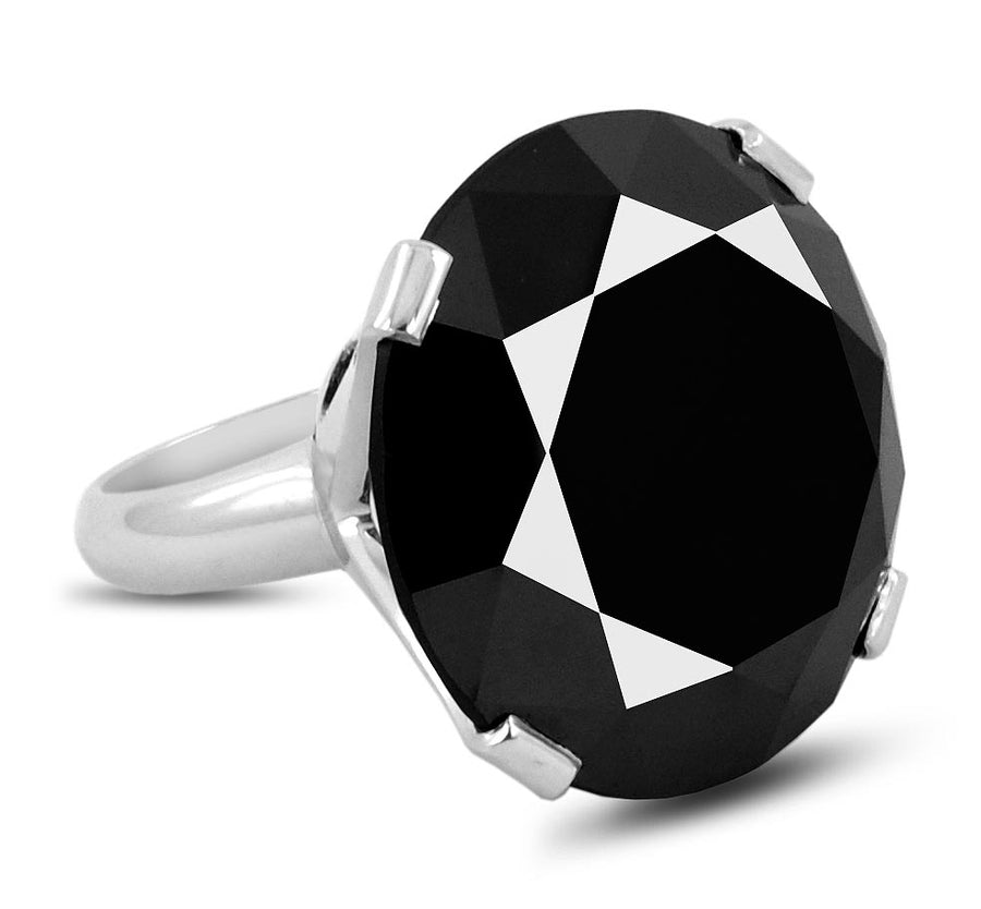 8-10 Ct Round Black Diamond Women's Ring in 925 Silver - ZeeDiamonds