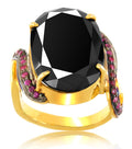 1-3 Ct Black Diamond Ring With Gemstones accents - ZeeDiamonds