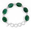 Green Oval Shape Emerald Gemstone Connector Bracelet