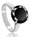 5.5 Ct Round Black Diamond Ring in Prong Setting - ZeeDiamonds