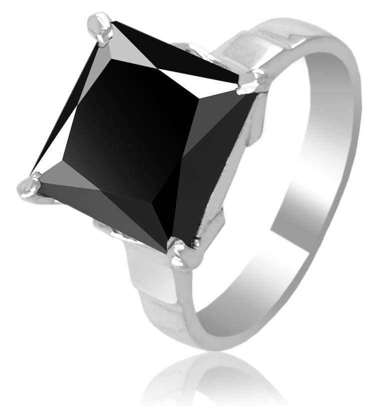 3 Ct AAA Certified Princess Cut Black Diamond Solitaire Ring, Great Shine & Luster - ZeeDiamonds