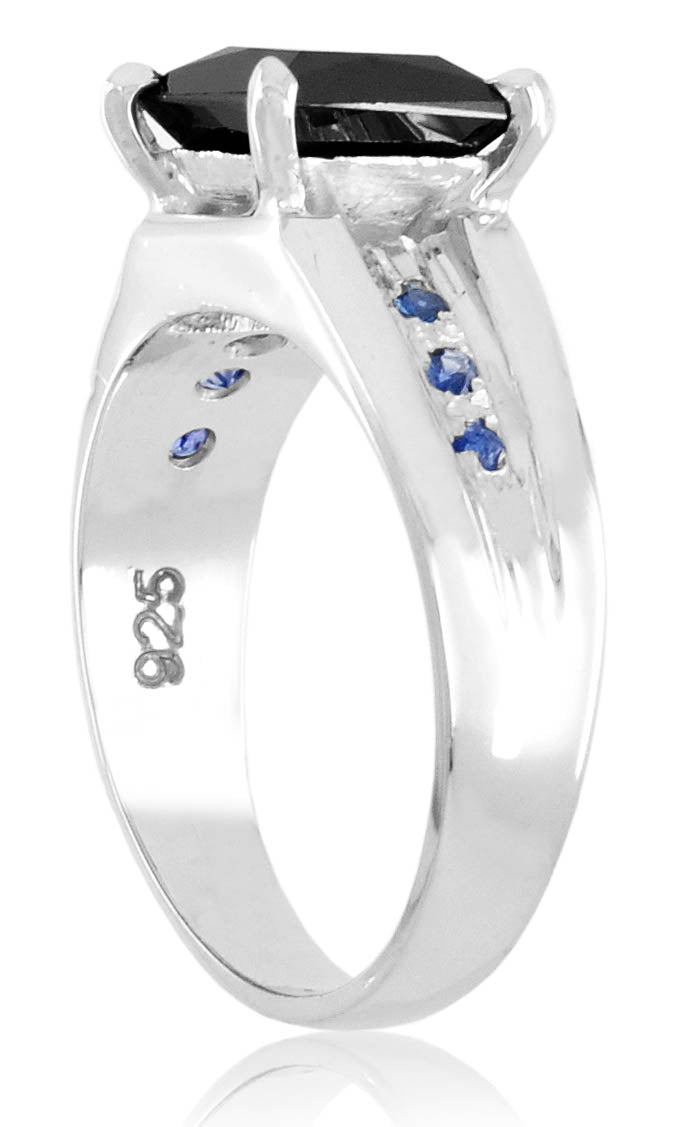 2 Ct Elegant Black Diamond Ring With Blue Sapphire Accents, Unisex Collection - ZeeDiamonds