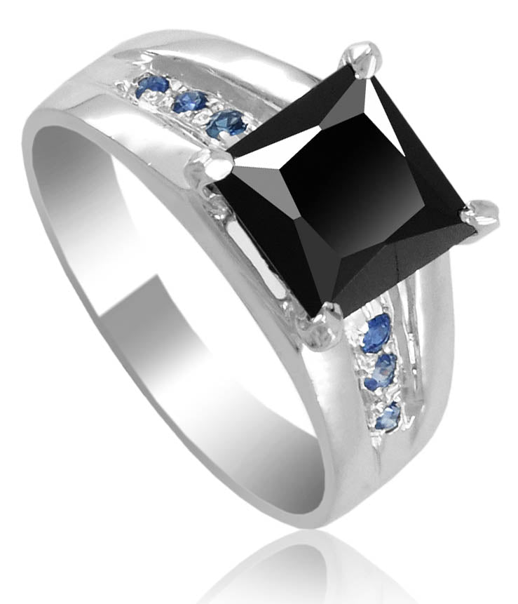 3.5 Ct Princess Cut Black Diamond Unisex Ring with Choice of Accents - ZeeDiamonds
