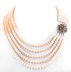 Five Row Peach Pearl Necklace With Multi Gemstone Clasp - ZeeDiamonds
