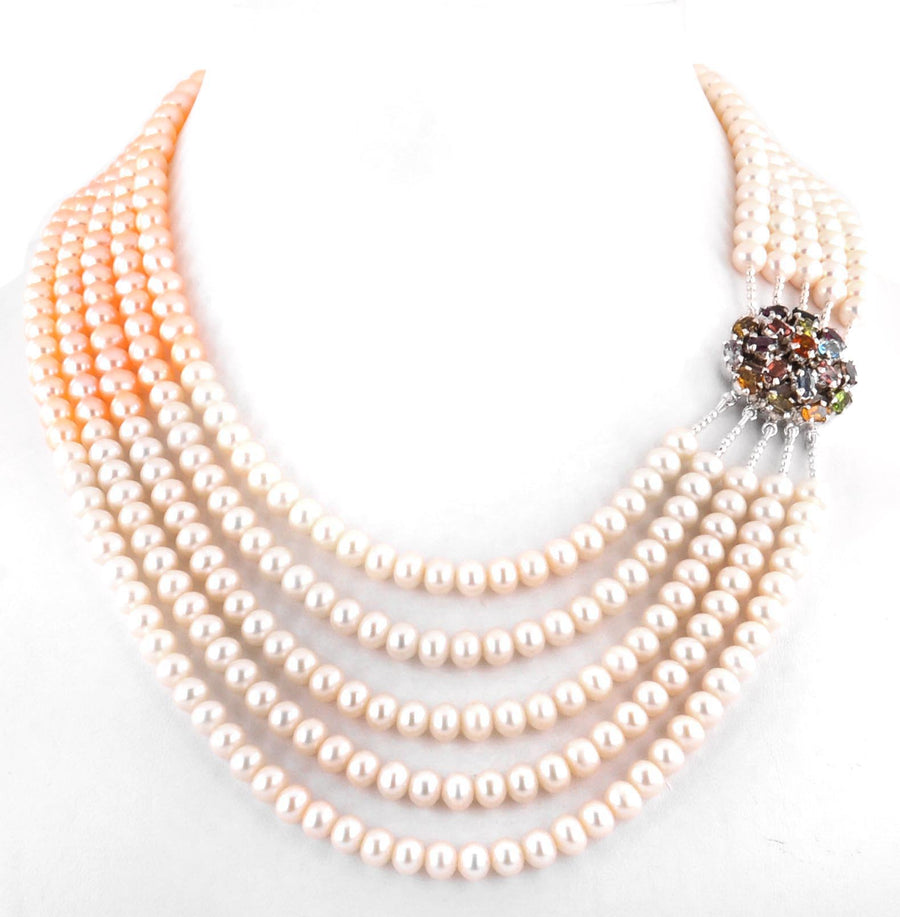 Five Row Peach Pearl Necklace With Multi Gemstone Clasp