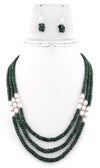 3-4 mm Designer Three Strand Emerald Necklace With Pearls - ZeeDiamonds