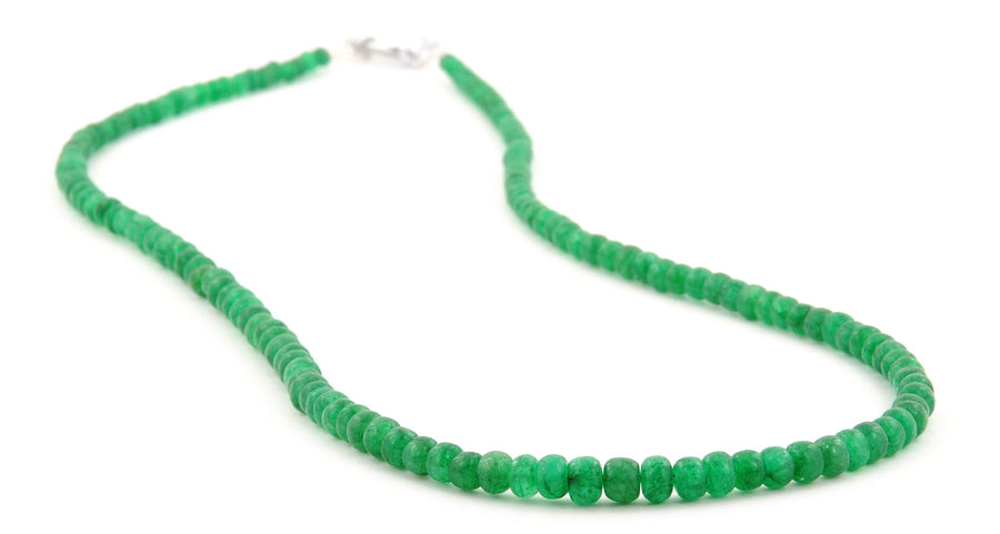 Single Strand 3 mm - 4 mm Emerald Gemstone Necklace