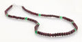 Single Strand Ruby Gemstone Necklace with Emerald Beads