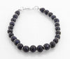 7-8 mm Natural Blue Sapphire Gemstone Beads Silver Goli Fancy Bracelet - ZeeDiamonds