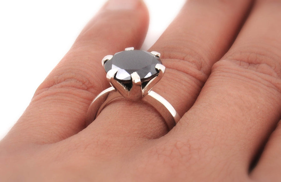 3 Ct  AAA - Quality Certified Black Diamond Solitaire Ring, Elegant Shine with Prong - ZeeDiamonds