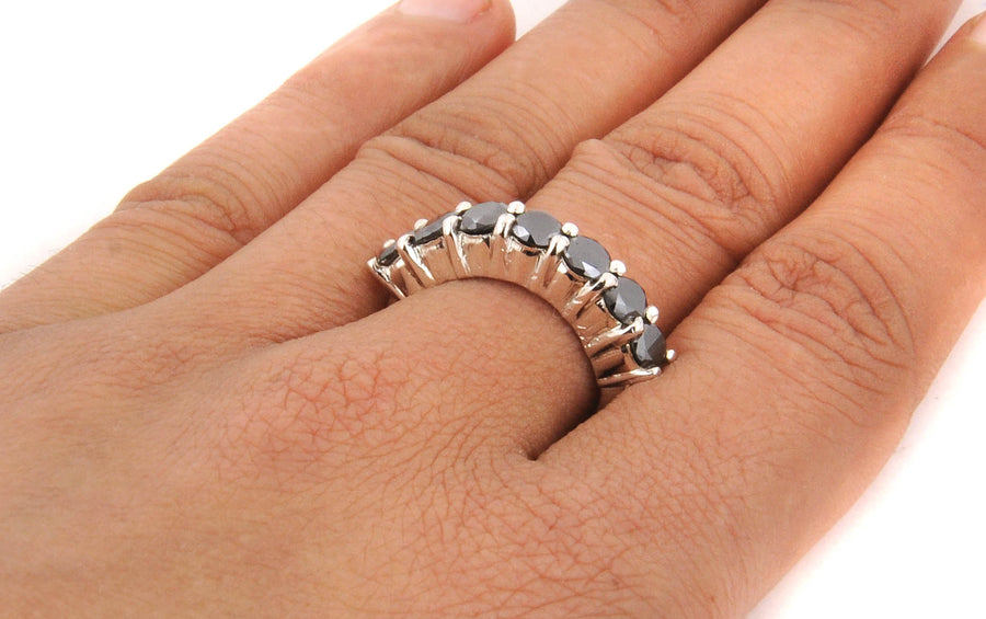 0.70 Ct Black Diamond Band Wedding Ring in 925 Sterling Silver - ZeeDiamonds