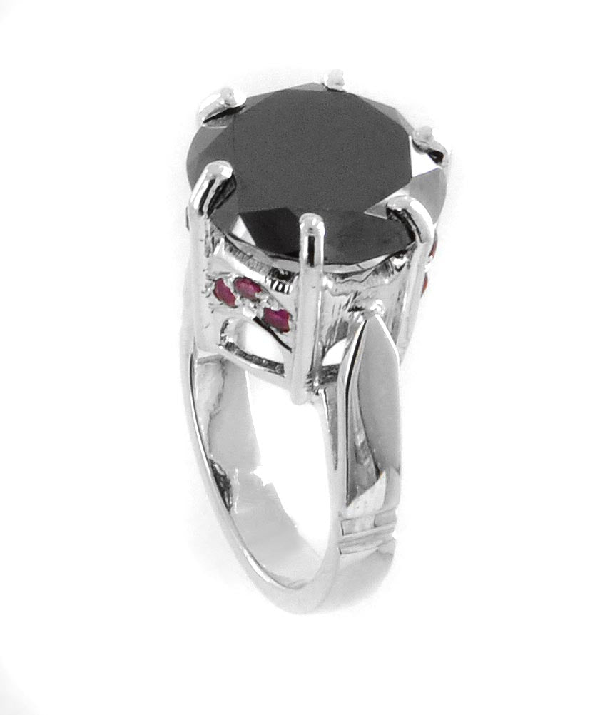 Certified Black Diamond Solitaire Ring With Ruby Accents