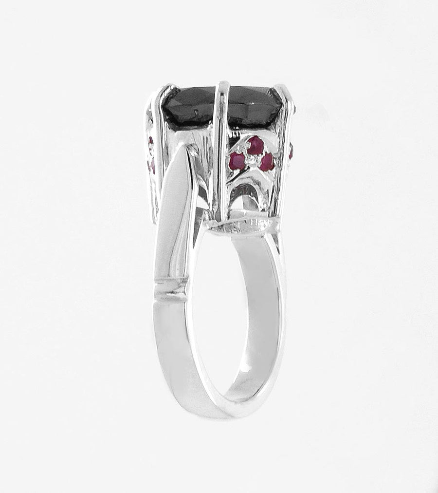 2 Ct Certified Designer Black Diamond Solitaire Ring With Ruby Accents, Excellent Cut - ZeeDiamonds