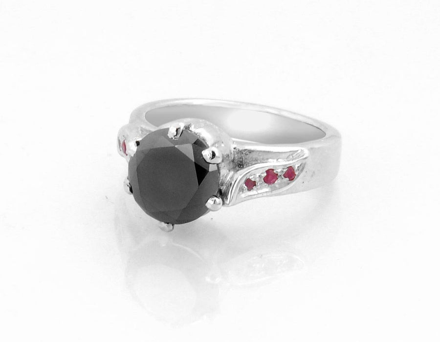 1.50 AAA Certified Black Diamond Solitaire Ring With Ruby Accents, Great Shine - ZeeDiamonds