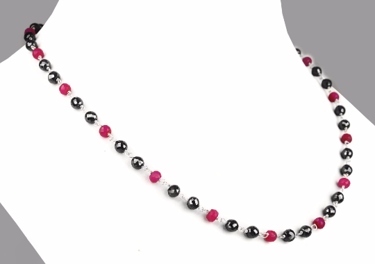 4-5 mm Ruby And Black Diamond Beads Sterling Silver Wire Necklace - ZeeDiamonds