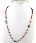 4-5 mm Ruby And Black Diamond Chain Necklace - ZeeDiamonds