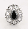 4.5 Ct Black Diamond Ring With Black and white Diamond Accents